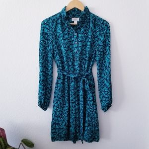 Loft   Teal Turquoise Dot Tie Waist Dress 0